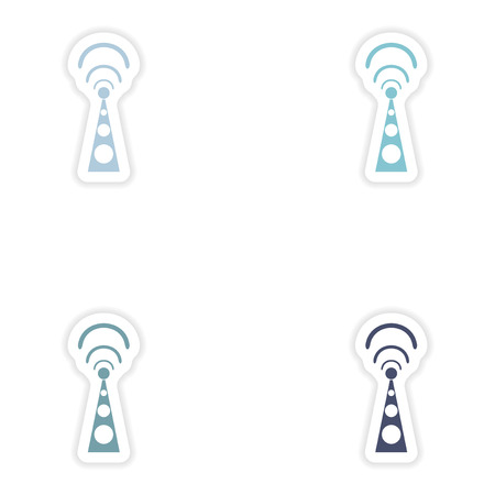 wi fi: Set paper sticker on white background  Wi fi tower Illustration