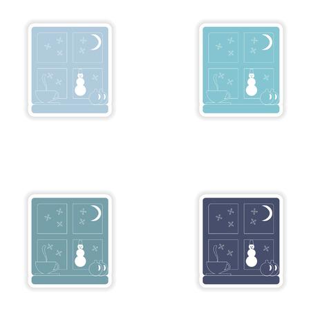 windowsill: Set of paper stickers on white background  snow window
