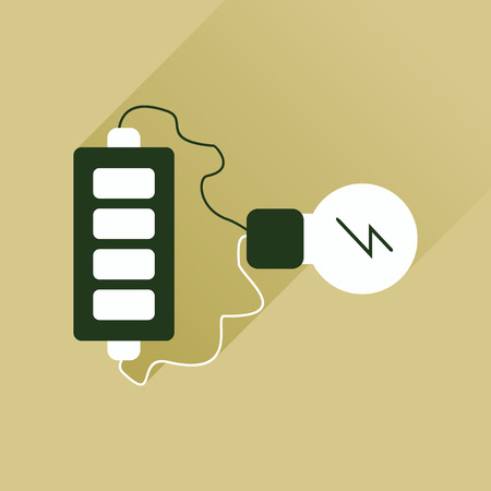 charge: Flat web icon with long shadow battery charge