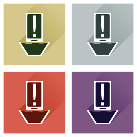 diving save: Concept of flat icons with long shadow mobile water