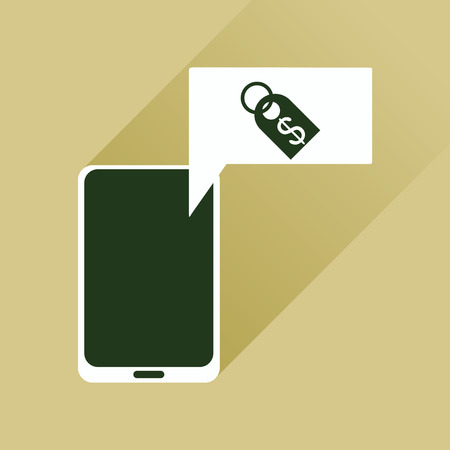 sms payment: Flat web icon with long shadow mobile money