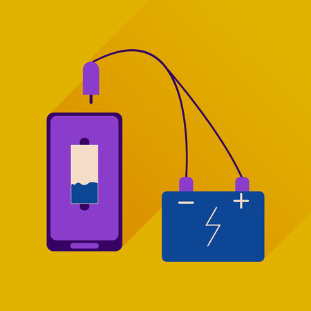telephone cord: Flat web icon with long shadow mobile charging