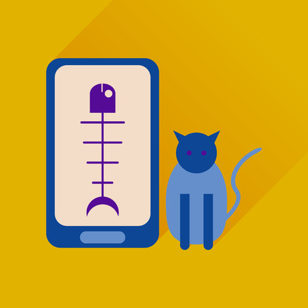 searching: Flat web icon with long shadow mobile pet
