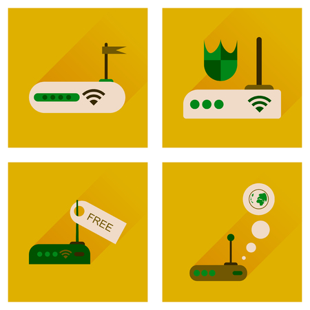 wireless lan: Concept of flat icons with long shadow  Wi-Fi