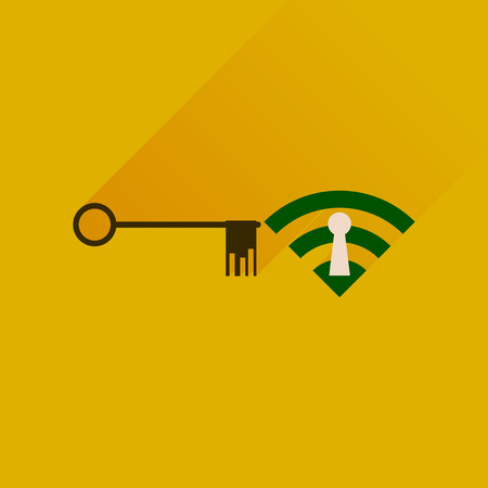 hot spot: Flat icon with long shadow  Key Wi fi Illustration