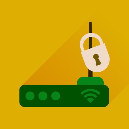 modem: Flat icon with long shadow  Wi fi modem Illustration