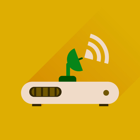 networking cables: Flat icon with long shadow  Wi fi modem Illustration