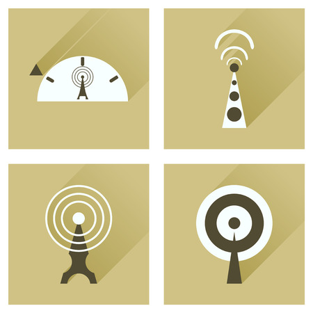 networking cables: Concept of flat icons with long shadow   Wi fi modem Illustration