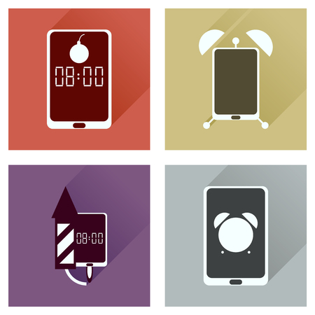 phone service: Concept of flat icons with long shadow  Mobile Phone Service