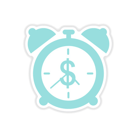 paper sticker on white background time is money