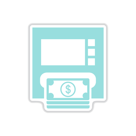 automatic transaction machine: paper sticker on white  background ATM money Vectores