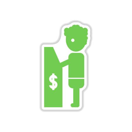 automatic transaction machine: etiqueta de papel en el fondo blanco gente ATM