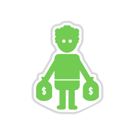 oligarchy: paper sticker on white  background man bags of money