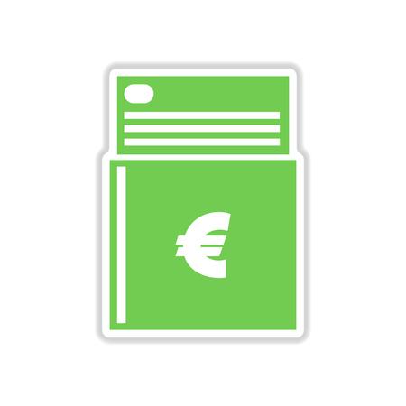 chequera: etiqueta de papel en el fondo blanco del talonario de cheques