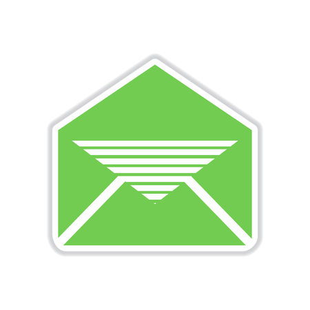 email icon: paper sticker on white  background envelope letter