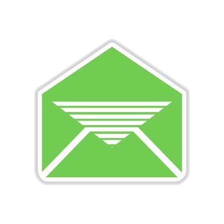 envelope icon: paper sticker on white  background envelope letter