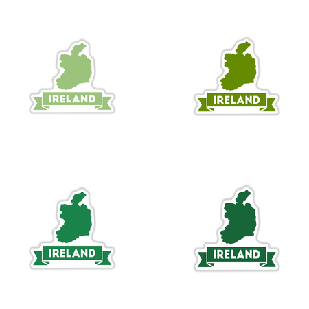 ireland map: Set of paper stickers on white  background Ireland map