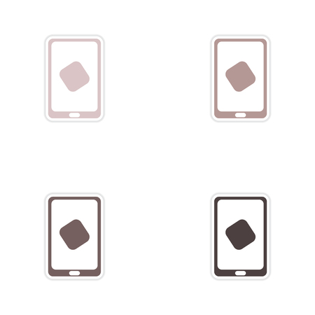 communicator: Set of paper stickers on white  background mobile phone
