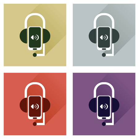 earpieces: Concept of flat icons with long shadow mobile earphone