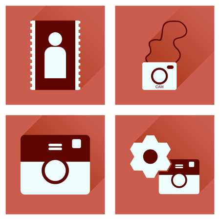focus on shadow: Concept of flat icons with long shadow  Cameras