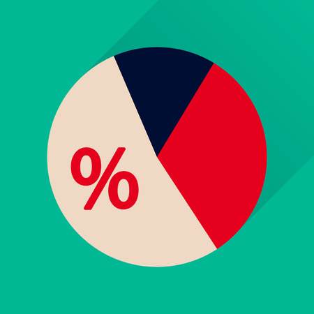 financial cycle: Flat icon with long  shadow percent chart Illustration