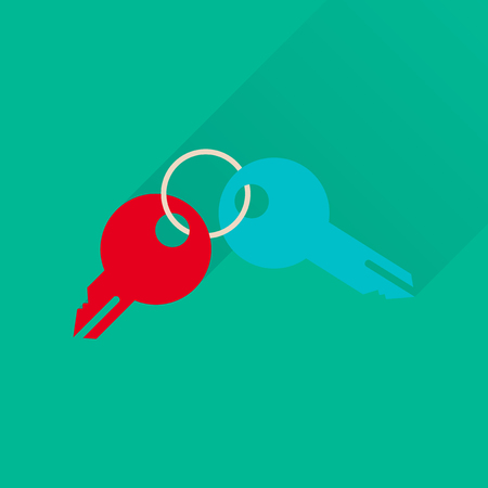 keyring: Flat icon with long  shadow bunch of keys Illustration