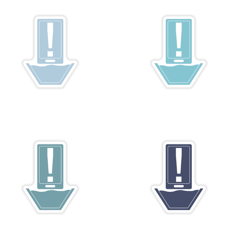 diving save: Set of paper stickers on white background  mobile phone water