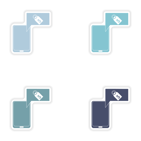 phone money: Set of paper stickers on white background  mobile phone money