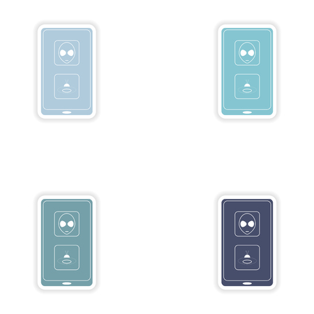 mobile app: Set of paper stickers on white background  mobile app