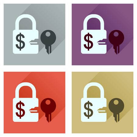 key in lock: Concept of flat icons with long  shadow key lock
