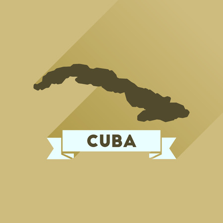 cuban flag: Flat icon with long  shadow map of Cuba