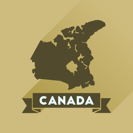 newfoundland: Flat icon with long  shadow Canada map