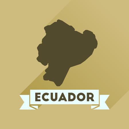 ecuador: Flat icon with long  shadow Ecuador map