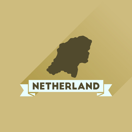 netherlands map: Flat icon with long  shadow Netherlands map