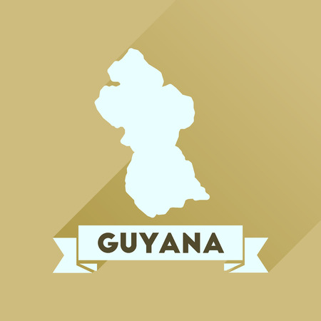guyana: Flat icon with long  shadow Guyana map Illustration