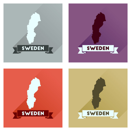 sweden map: Concept flat icons with long  shadow Sweden map Illustration