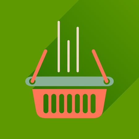 shopping basket: Flat icon with long  shadow shopping basket Illustration