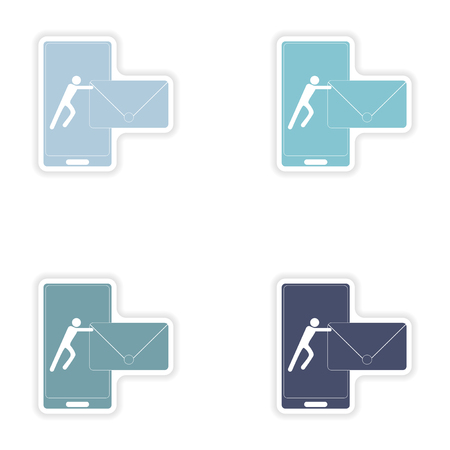 sending: Set of paper stickers on white background   sending sms