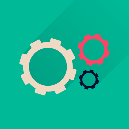 gears and cogs: Flat icon with long  shadow gears cogs