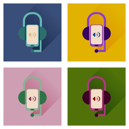 Concept of flat icons with long shadow mobile earphone