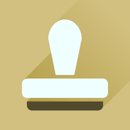 stamper: Flat icon with long  shadow stamp office