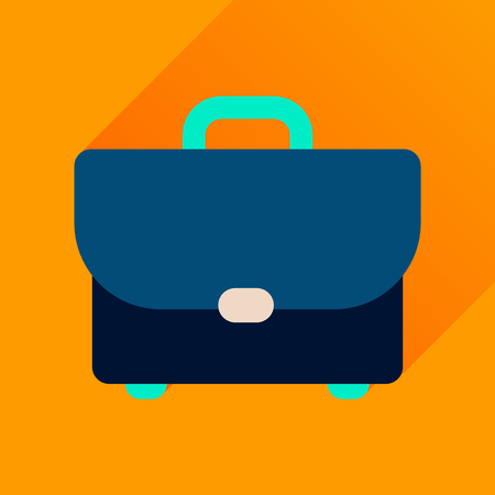 business case: Flat icon with long  shadow business case