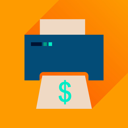 multifunction printer: Flat icon with long  shadow money printing Illustration