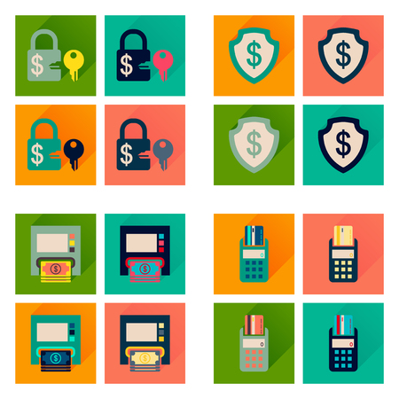 internet terminal: Concept of flat icons with long  shadow finance Illustration