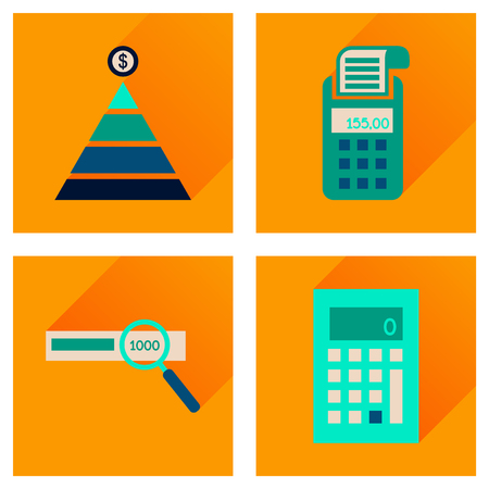internet terminals: Concept of flat icons with long  shadow finance Illustration