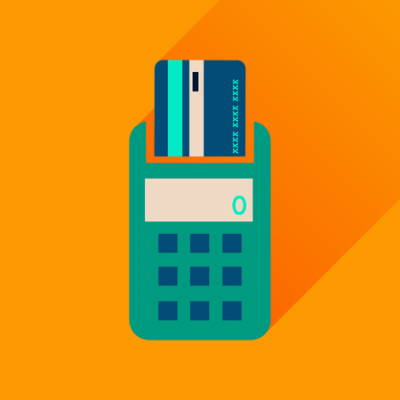 pincode: Flat icon with long  shadow card terminal Illustration