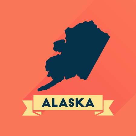 alaska map: Flat icon with long  shadow Alaska map