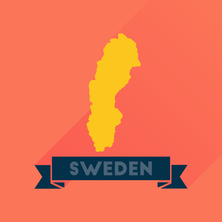 sweden map: Flat icon with long  shadow Sweden map