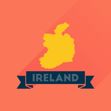 ireland map: Flat icon with long  shadow Ireland map Illustration