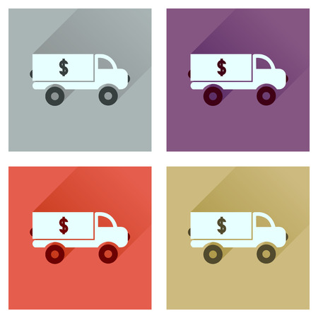 increment: Concept flat icons with long  shadow car transportation money